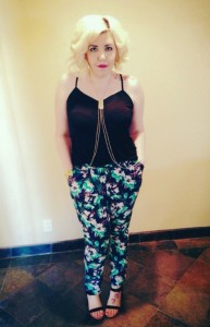 tank: h&m body chain: asos floral pants: h&m shoes: dolce vita bracelet: charming charlie