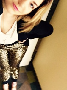 Sequin pants: Nordstrom White tee: Target Black blazer: Victorias Secret Shoes: Sam Edelman