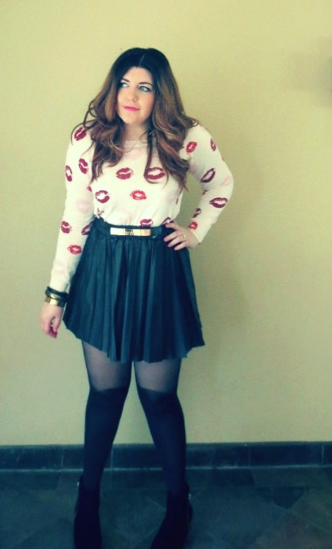 Top: Forever 21 Skirt: Nordstrom Tights: Pretty Polly Belt: Asos Boots: Wanted Hair: I miss it