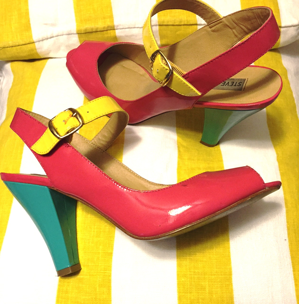 Color block heels always find their way back around.