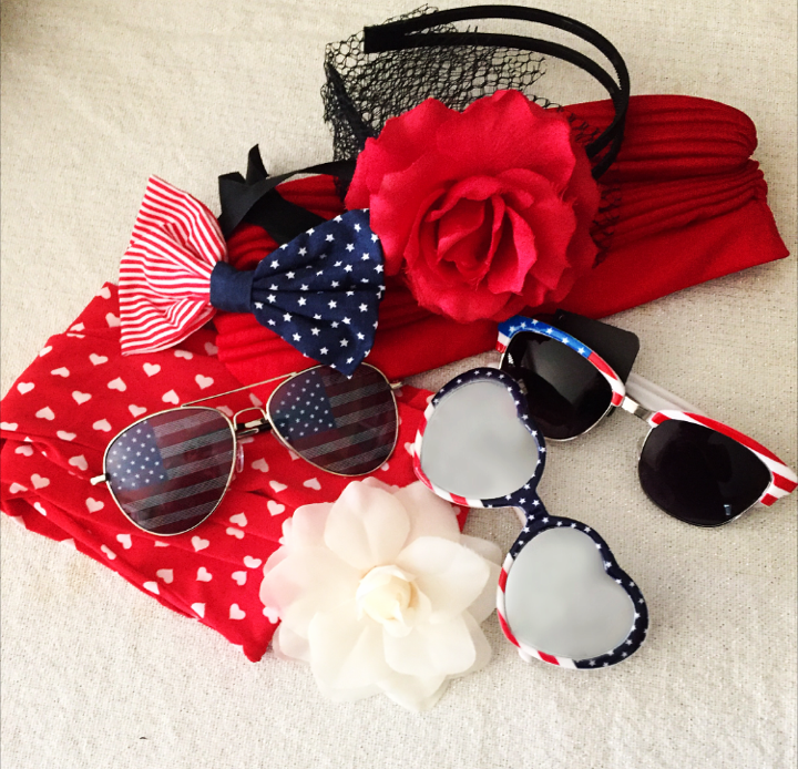 Aviators: Nordstrom Mirrored Flag Hearts: Forever 21 Flag Sunnies: Boutique Bow: Forever 21 Red flower headband: Handmade White Flower: Nordstrom