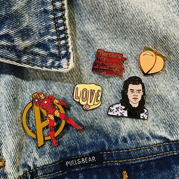 Iron Man: Disney Love: Urban Outfitters Mercury Retrograde: Gift Harry Styles: MillyPins Peach: Etsy