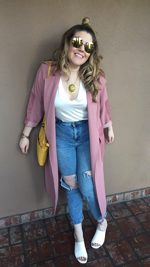 Coat: Topshop T-shirt: Zara Jeans: ASOS Mules: ASOS Necklace: Chanel Sunnies: Quay