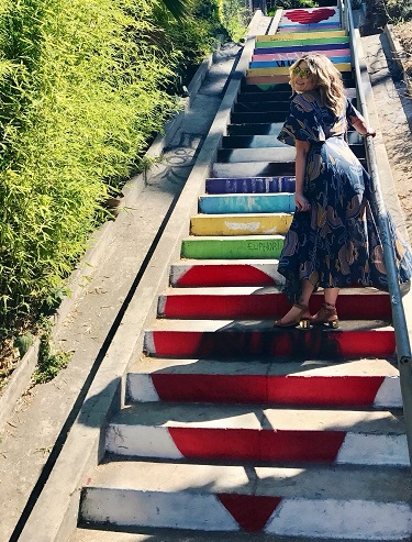 Dress: Free People Sunnies: Quay Rainbow stairs: Silverlake, CA