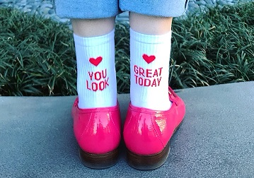 Compliment socks: Yeah Bunny Hot pink loafers: Gucci